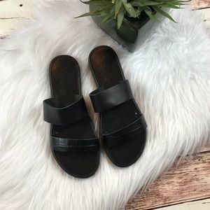 Joie // Black Tallium Leather Platform Sandals